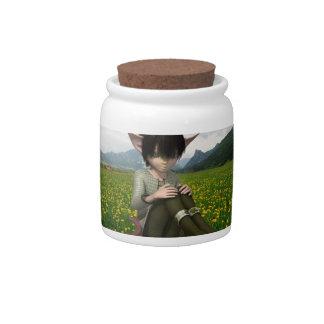 Sátiro en tarro del caramelo del campo platos para caramelos