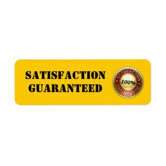 Satisfacción garantizada - etiqueta etiqueta de remite