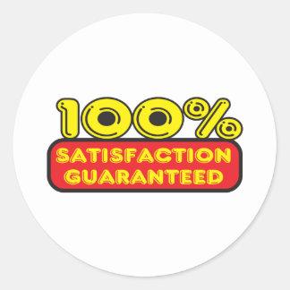Satisfacción garantizada pegatina redonda