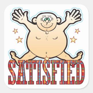 Satisfied Fat Man Square Sticker
