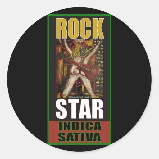 SATIVA INDICA DE LA ESTRELLA DEL ROCK PEGATINA REDONDA