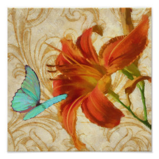 Satsuma Day Lily I with aqua butterfly print
