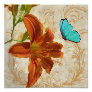 Satsuma Day Lily II print orange flower butterfly