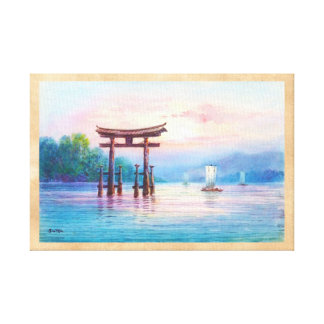 Satta Miyajima Torii and Sailboats japanese art Canvas Print