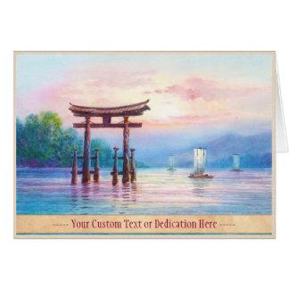 Satta Miyajima Torii and Sailboats japanese art Card
