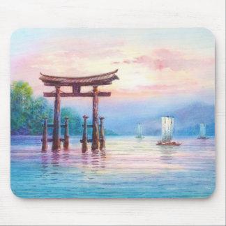 Satta Miyajima Torii and Sailboats japanese art Mouse Pad