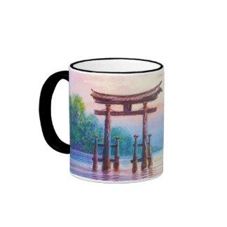 Satta Miyajima Torii and Sailboats japanese art Mugs