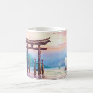 Satta Miyajima Torii and Sailboats japanese art Coffee Mug