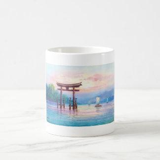 Satta Miyajima Torii and Sailboats japanese art Coffee Mugs