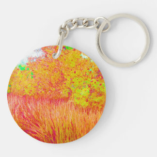 Saturated grass tree florida background Double-Sided round acrylic keychain