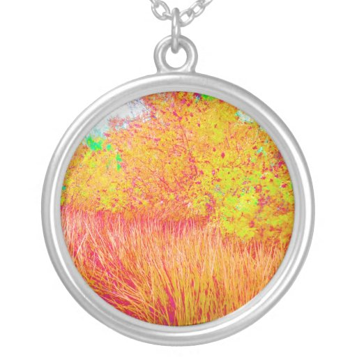 Saturated grass tree florida background round pendant necklace