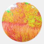 Saturated grass tree florida background round sticker