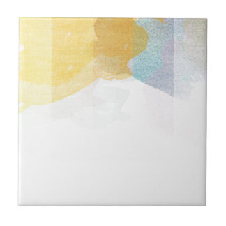 Saturated Stripes watercolor Small Square Tile