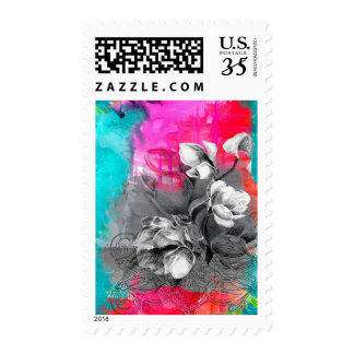 Saturated watercolor flowers postage