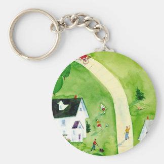 Saturday Afternoon Basic Round Button Keychain