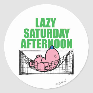 Saturday Afternoon With Mr. Lazy Classic Round Sticker