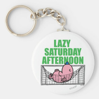 Saturday Afternoon With Mr. Lazy Basic Round Button Keychain
