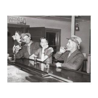 Saturday Night at the Saloon, 1937 Canvas Print