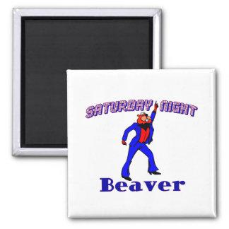 Saturday Night Disco Beaver 2 Inch Square Magnet