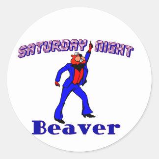 Saturday Night Disco Beaver Classic Round Sticker