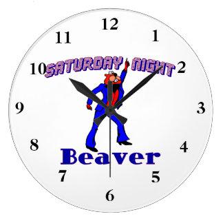 Saturday Night Disco Beaver Large Clock