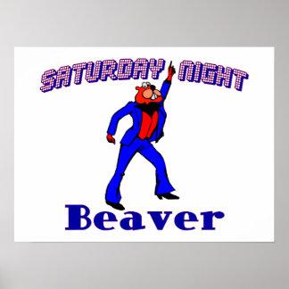 Saturday Night Disco Beaver Poster