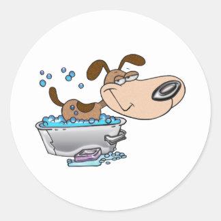 Saturday Night Dog Bath Classic Round Sticker