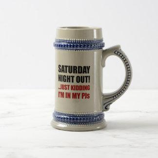 Saturday Night Out PJs Beer Stein