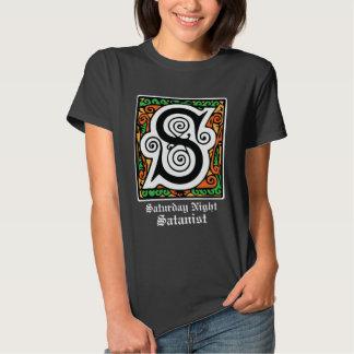 Saturday Night Satanist Medieval Letter S T Shirt