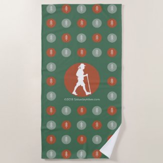 SaturdayHiker.com Tree and Hiker Beach Towel