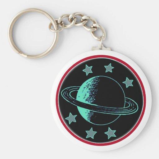 Saturn 6 - basic round button keychain