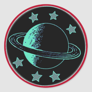 Saturn 6 - classic round sticker