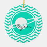 Saturn; Aguamarina Chevron verde Adornos De Navidad