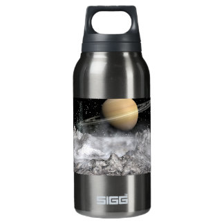 Saturn and Enceladus Insulated Water Bottle