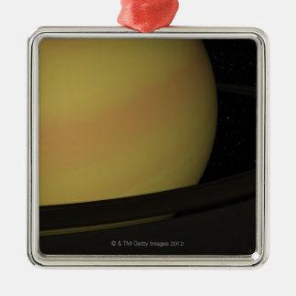 Saturn and its Rings Square Metal Christmas Ornament