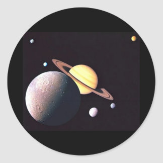 Saturn And Moons Classic Round Sticker
