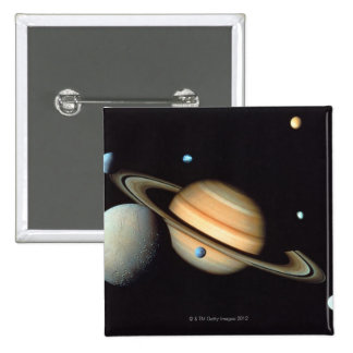 Saturn and satellites pinback button