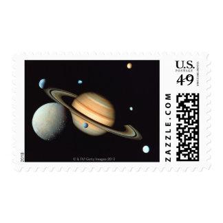 Saturn and satellites postage