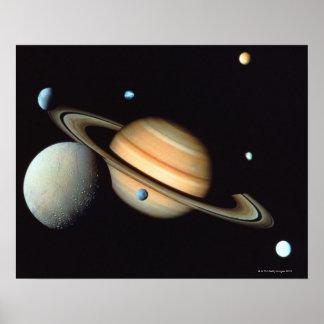 Saturn and satellites posters