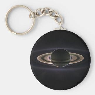 Saturn backlit basic round button keychain