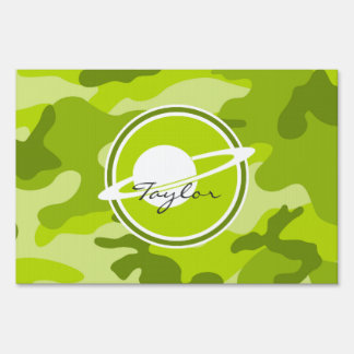 Saturn; bright green camo, camouflage lawn signs