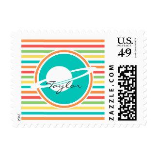 Saturn, Bright Rainbow Stripes Postage Stamp