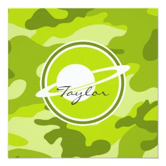 """Saturn; camo verde claro, camuflaje invitación 5.25"""" x 5.25"""""""