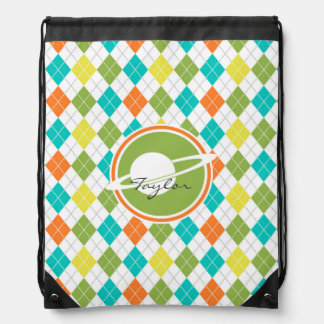 Saturn; Colorful Argyle Pattern Cinch Bag
