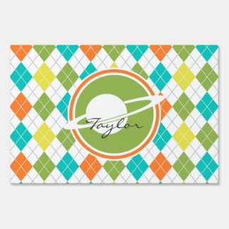 Saturn; Colorful Argyle Pattern Lawn Sign