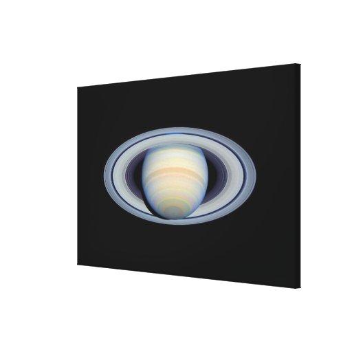 Saturn con los anillos en la más granangular a la  lienzo envuelto para galerías