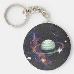 Saturn con los anillos llavero redondo tipo pin