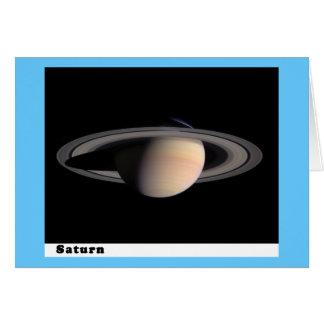 Saturn con los anillos tarjeta de felicitación