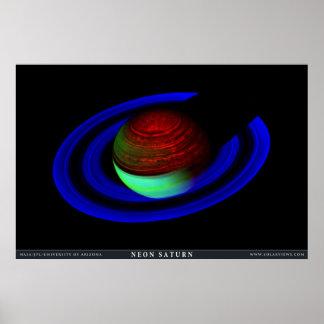 Saturn de neón póster