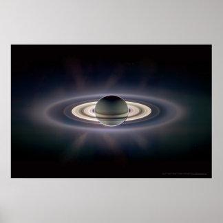 Saturn en el eclipse 18x12 (9x5) póster